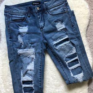 Bebe Jean Distressed Heartbreaker Skinny Jeans